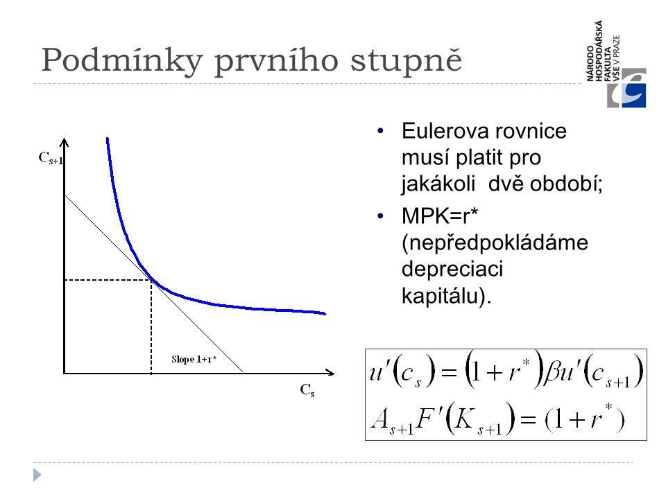 Podmínky prvního stupně •Eulerova rovnice musí platit pro jakákoli dvě období; •MPK=r* (nepředpokládáme depreciaci kapitálu).