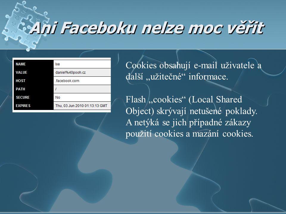 """Ani Faceboku nelze moc věřit Cookies obsahují e-mail uživatele a další """"užitečné"""" informace. Flash """"cookies"""" (Local Shared Object) skrývají netušené p"""