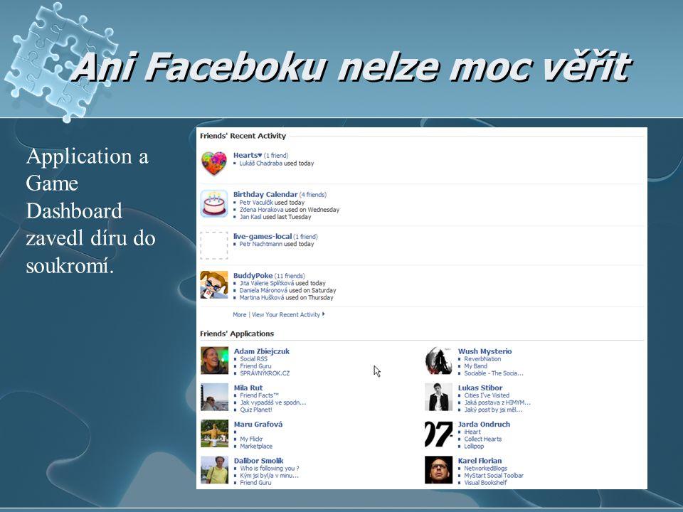 Ani Faceboku nelze moc věřit Application a Game Dashboard zavedl díru do soukromí.
