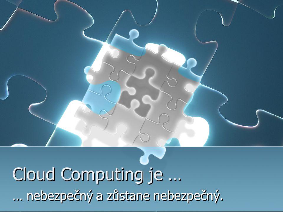 Cloud Computing je … … nebezpečný a zůstane nebezpečný.