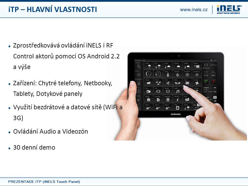  Zprostředkovává ovládání iNELS i RF Control aktorů pomocí OS Android 2.2 a výše  Zařízení: Chytré telefony, Netbooky, Tablety, Dotykové panely  Vy
