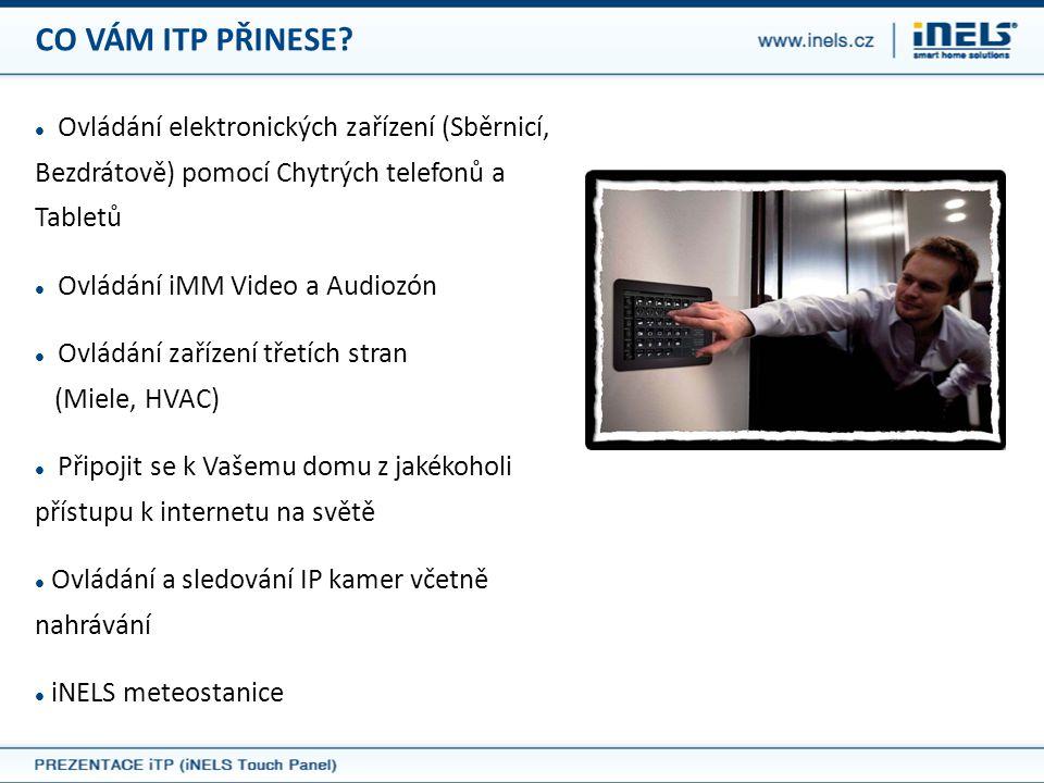 CO VÁM ITP PŘINESE?  Ovládání elektronických zařízení (Sběrnicí, Bezdrátově) pomocí Chytrých telefonů a Tabletů  Ovládání iMM Video a Audiozón  Ovl