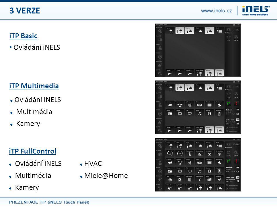 3 VERZE iTP Basic • Ovládání iNELS iTP Multimedia  Ovládání iNELS  Multimédia  Kamery iTP FullControl  Ovládání iNELS  Multimédia  Kamery  HVAC