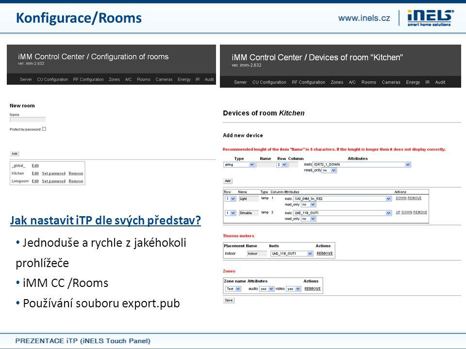 Konfigurace/Rooms Jak nastavit iTP dle svých představ? • Jednoduše a rychle z jakéhokoli prohlížeče • iMM CC /Rooms • Používání souboru export.pub