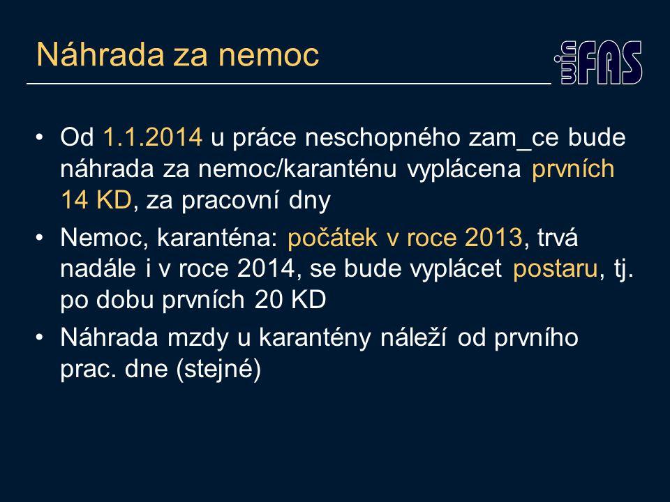Náhrada za nemoc •Od 1.1.2014 u práce neschopného zam_ce bude náhrada za nemoc/karanténu vyplácena prvních 14 KD, za pracovní dny •Nemoc, karanténa: počátek v roce 2013, trvá nadále i v roce 2014, se bude vyplácet postaru, tj.