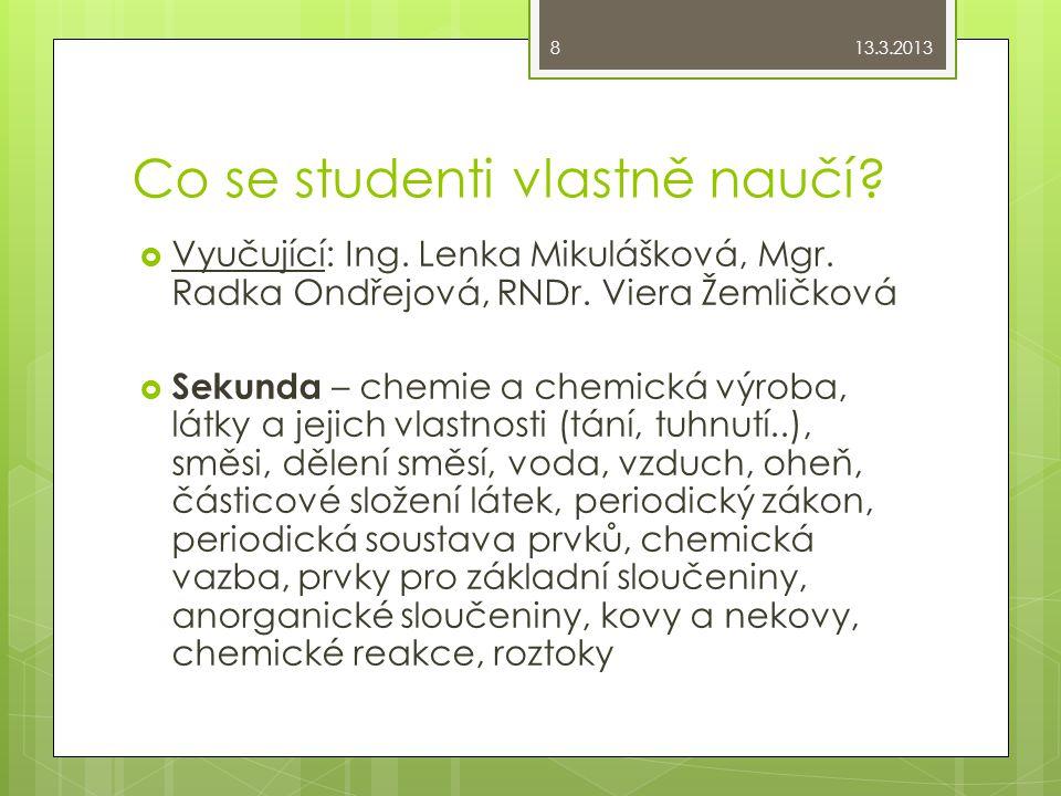 Co se studenti vlastně naučí?  Vyučující: Ing. Lenka Mikulášková, Mgr. Radka Ondřejová, RNDr. Viera Žemličková  Sekunda – chemie a chemická výroba,