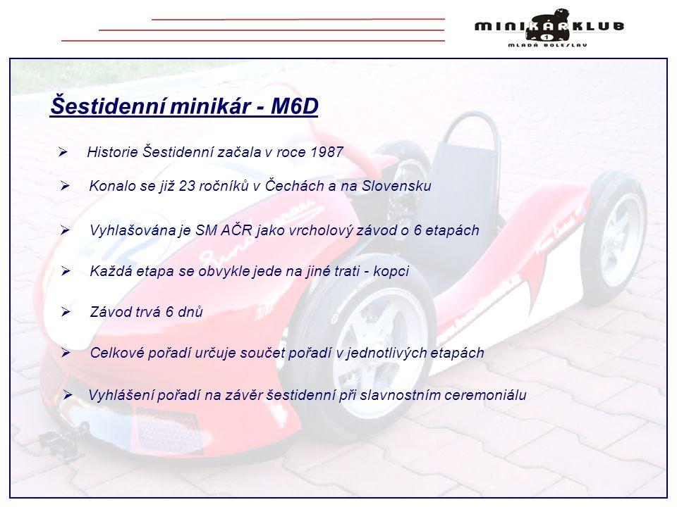 Šestidenní minikár - M6D  Vyhlašována je SM AČR jako vrcholový závod o 6 etapách  Vyhlášení pořadí na závěr šestidenní při slavnostním ceremoniálu  Historie Šestidenní začala v roce 1987  Konalo se již 23 ročníků v Čechách a na Slovensku  Celkové pořadí určuje součet pořadí v jednotlivých etapách  Závod trvá 6 dnů  Každá etapa se obvykle jede na jiné trati - kopci