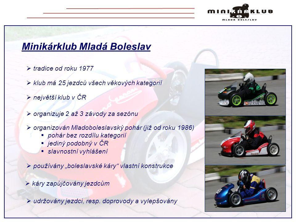 Minikárklub Mladá Boleslav  tradice od roku 1977  udržovány jezdci, resp. doprovody a vylepšovány  klub má 25 jezdců všech věkových kategorií  nej