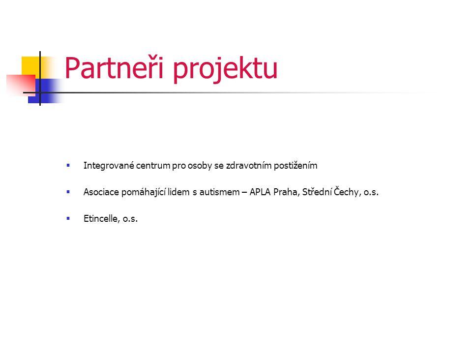 Partneři projektu  Integrované centrum pro osoby se zdravotním postižením  Asociace pomáhající lidem s autismem – APLA Praha, Střední Čechy, o.s.