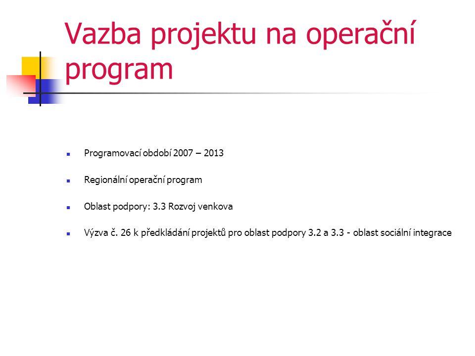 Vazba projektu na operační program  Programovací období 2007 – 2013  Regionální operační program  Oblast podpory: 3.3 Rozvoj venkova  Výzva č.