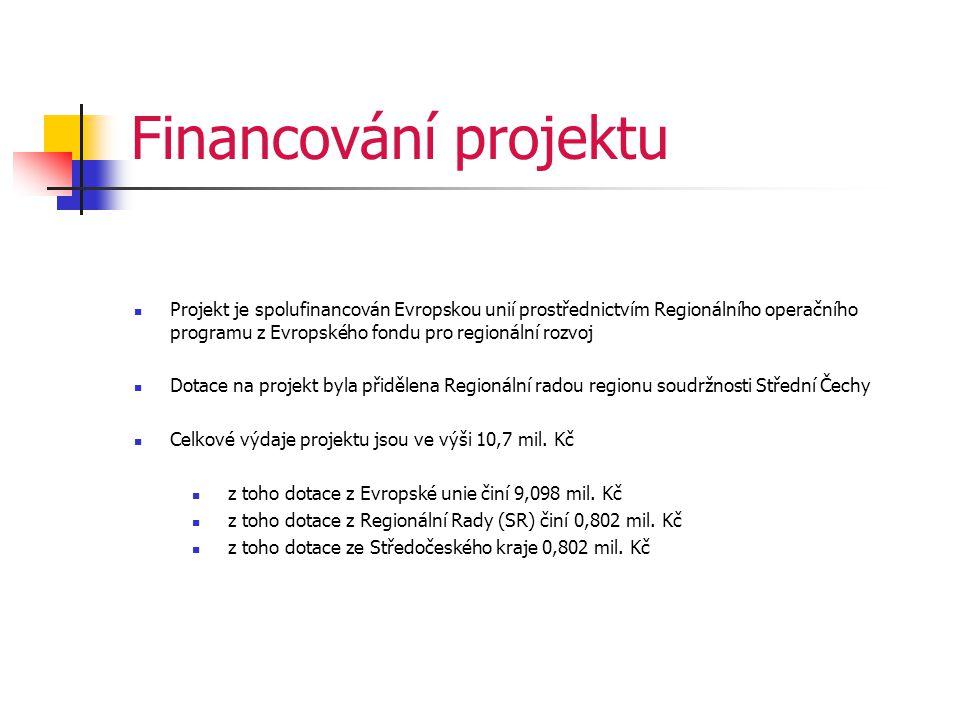Financování projektu  Projekt je spolufinancován Evropskou unií prostřednictvím Regionálního operačního programu z Evropského fondu pro regionální rozvoj  Dotace na projekt byla přidělena Regionální radou regionu soudržnosti Střední Čechy  Celkové výdaje projektu jsou ve výši 10,7 mil.