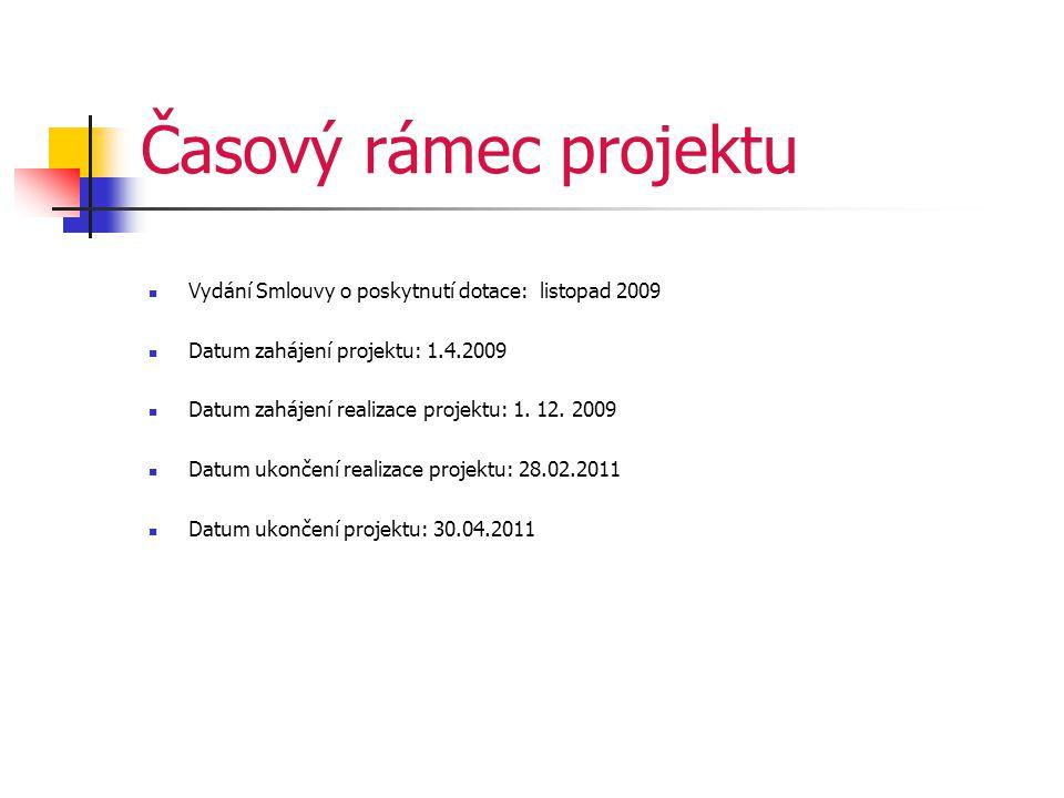 Časový rámec projektu  Vydání Smlouvy o poskytnutí dotace: listopad 2009  Datum zahájení projektu: 1.4.2009  Datum zahájení realizace projektu: 1.