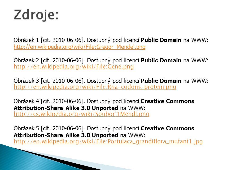 Zdroje: Obrázek 1 [cit. 2010-06-06]. Dostupný pod licencí Public Domain na WWW: http://en.wikipedia.org/wiki/File:Gregor_Mendel.png Obrázek 2 [cit. 20