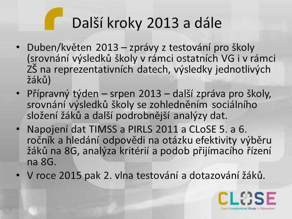 Další kroky 2013 a dále • Duben/květen 2013 – zprávy z testování pro školy (srovnání výsledků školy v rámci ostatních VG i v rámci ZŠ na reprezentativ