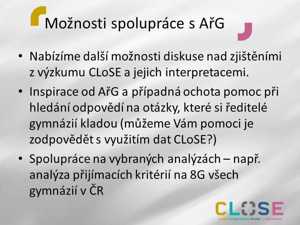 Možnosti spolupráce s AřG • Nabízíme další možnosti diskuse nad zjištěními z výzkumu CLoSE a jejich interpretacemi. • Inspirace od AřG a případná ocho