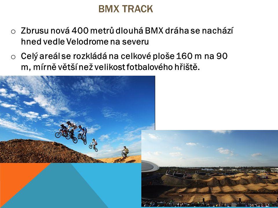 BMX TRACK o Zbrusu nová 400 metrů dlouhá BMX dráha se nachází hned vedle Velodrome na severu o Celý areál se rozkládá na celkové ploše 160 m na 90 m, mírně větší než velikost fotbalového hřiště.