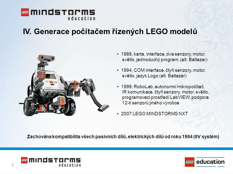 5 IV. Generace počítačem řízených LEGO modelů • 1988, karta, interface, dva senzory, motor, světlo, jednoduchý program, (alt. Baltazar) • 1994, COM in
