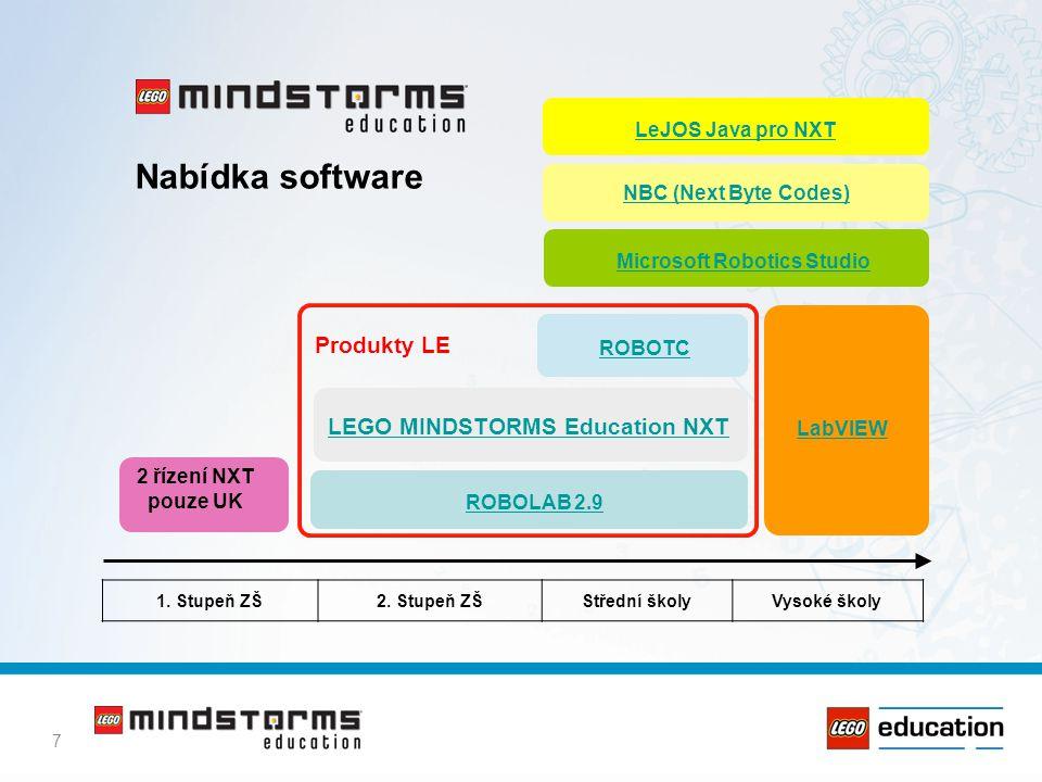 7 LEGO MINDSTORMS Education NXT LabVIEW ROBOLAB 2.9 ROBOTC Produkty LE 2 řízení NXT pouze UK Microsoft Robotics Studio NBC (Next Byte Codes) 1. Stupeň