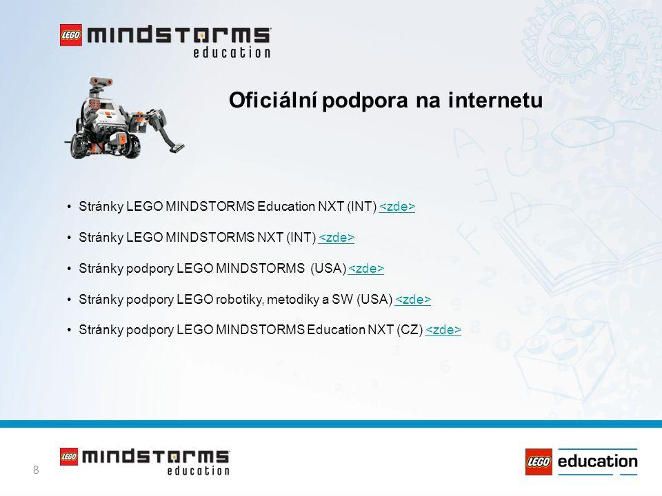 8 Oficiální podpora na internetu • Stránky LEGO MINDSTORMS Education NXT (INT) • Stránky LEGO MINDSTORMS NXT (INT) • Stránky podpory LEGO MINDSTORMS (