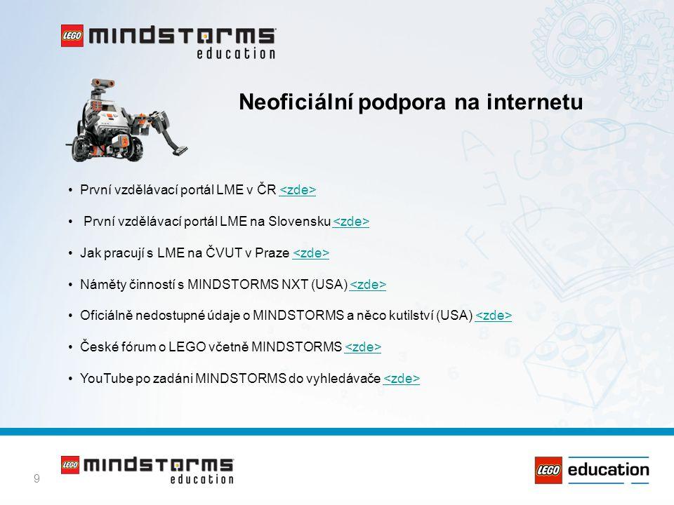 9 Neoficiální podpora na internetu • První vzdělávací portál LME v ČR • První vzdělávací portál LME na Slovensku • Jak pracují s LME na ČVUT v Praze •