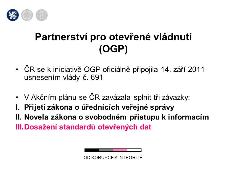 OD KORUPCE K INTEGRITĚ Partnerství pro otevřené vládnutí (OGP) •ČR se k iniciativě OGP oficiálně připojila 14. září 2011 usnesením vlády č. 691 •V Akč