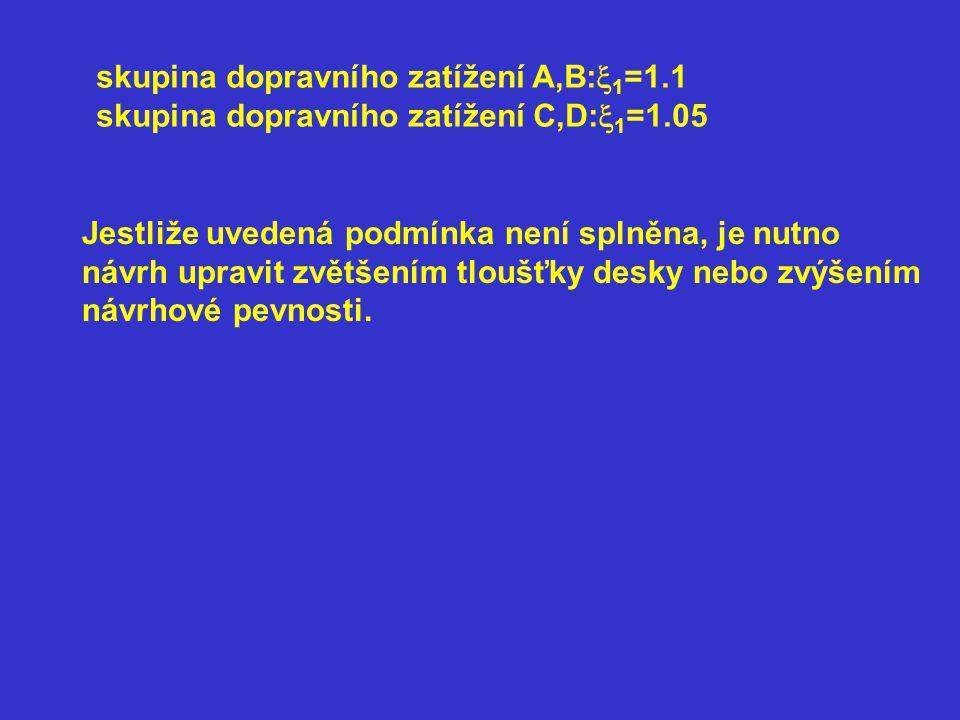 skupina dopravního zatížení A,B:  1 =1.1 skupina dopravního zatížení C,D:  1 =1.05 Jestliže uvedená podmínka není splněna, je nutno návrh upravit zv