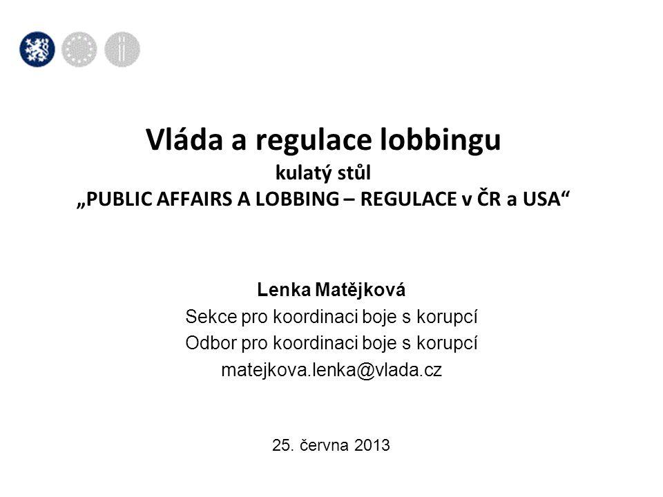 Lobbing  různé definice lobbingu - výraz užívaný od 19.