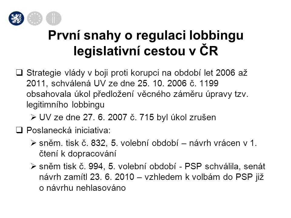  Strategie vlády v boji proti korupci na období let 2006 až 2011, schválená UV ze dne 25. 10. 2006 č. 1199 obsahovala úkol předložení věcného záměru