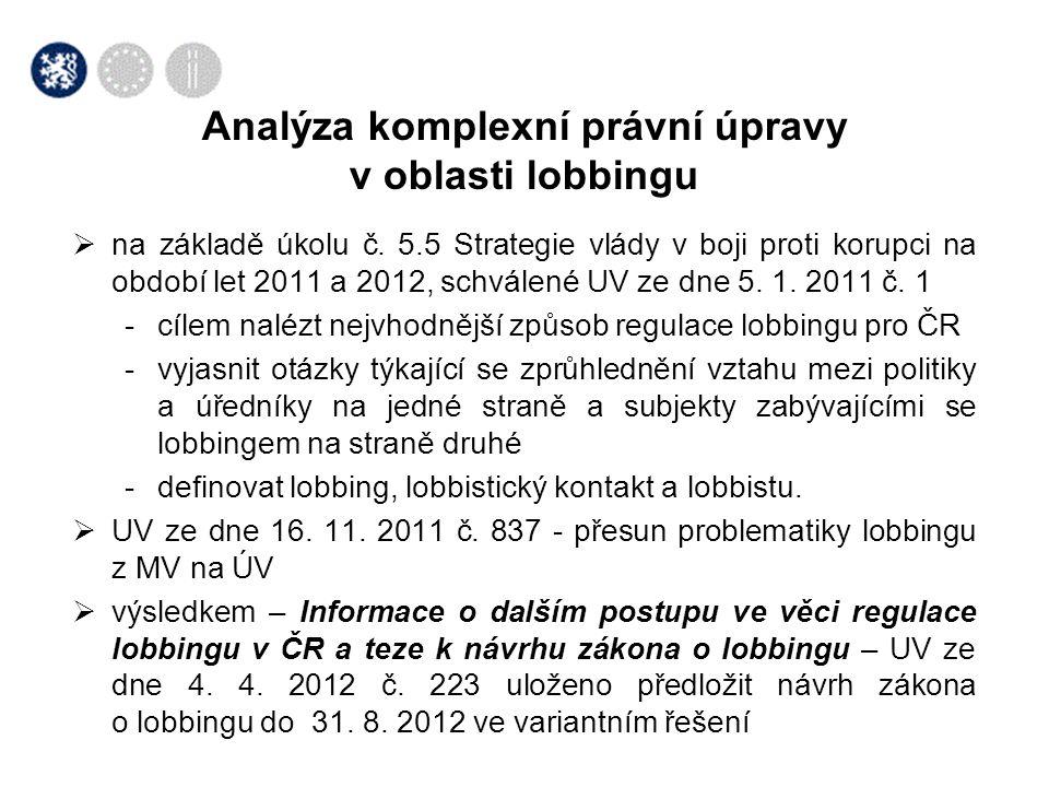  na základě úkolu č. 5.5 Strategie vlády v boji proti korupci na období let 2011 a 2012, schválené UV ze dne 5. 1. 2011 č. 1 -cílem nalézt nejvhodněj