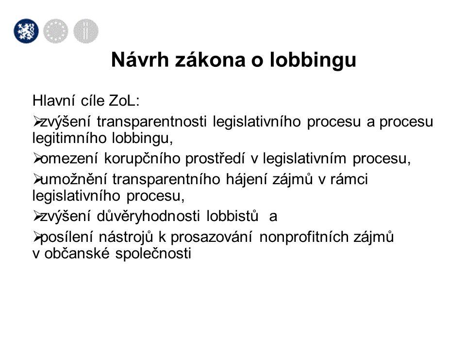 Návrh zákona o lobbingu Hlavní cíle ZoL:  zvýšení transparentnosti legislativního procesu a procesu legitimního lobbingu,  omezení korupčního prostředí v legislativním procesu,  umožnění transparentního hájení zájmů v rámci legislativního procesu,  zvýšení důvěryhodnosti lobbistů a  posílení nástrojů k prosazování nonprofitních zájmů v občanské společnosti