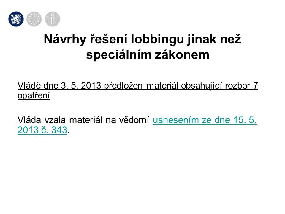 Vládě dne 3. 5. 2013 předložen materiál obsahující rozbor 7 opatření Vláda vzala materiál na vědomí usnesením ze dne 15. 5. 2013 č. 343.usnesením ze d