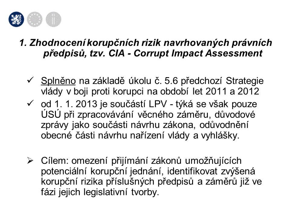  Splněno na základě úkolu č. 5.6 předchozí Strategie vlády v boji proti korupci na období let 2011 a 2012  od 1. 1. 2013 je součástí LPV - týká se v