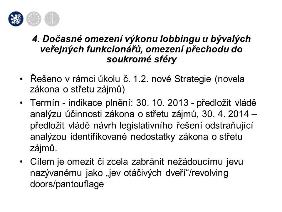 •Řešeno v rámci úkolu č. 1.2. nové Strategie (novela zákona o střetu zájmů) •Termín - indikace plnění: 30. 10. 2013 - předložit vládě analýzu účinnost