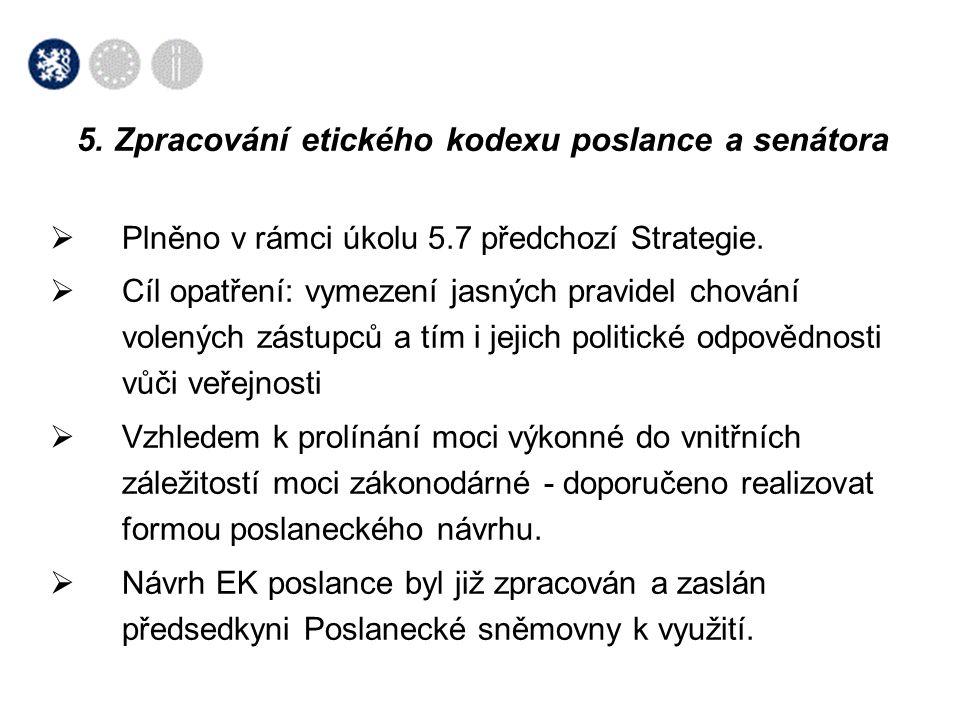  Plněno v rámci úkolu 5.7 předchozí Strategie.  Cíl opatření: vymezení jasných pravidel chování volených zástupců a tím i jejich politické odpovědno
