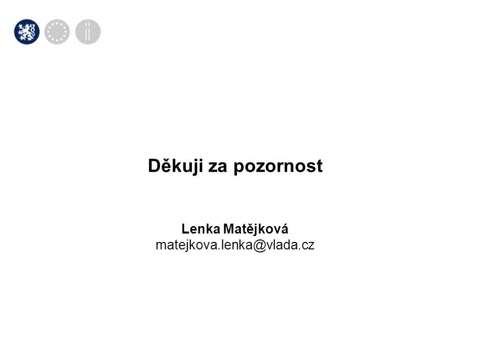 Děkuji za pozornost Lenka Matějková matejkova.lenka@vlada.cz