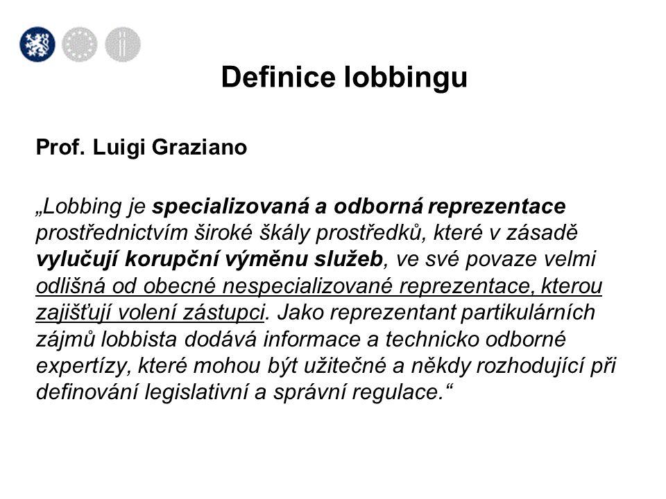 """Prof. Luigi Graziano """"Lobbing je specializovaná a odborná reprezentace prostřednictvím široké škály prostředků, které v zásadě vylučují korupční výměn"""