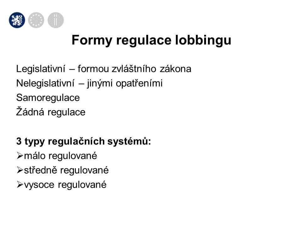 Oblasti regulace Málo regulované /lowly regulated/ Středně regulované /medium regulated/ Vysoce regulované /higly regulated/ Pravidla registrace a oznamování Pravidla registrace, málo detailní Pravidla registrace, požadováno více detailů Velmi přísná pravidla registrací Zveřejňování výdajů Bez pravidel o zveřejňování výdajů jednotlivce nebo zaměstnavatele Určitá pravidla o zveřejňování indiv.