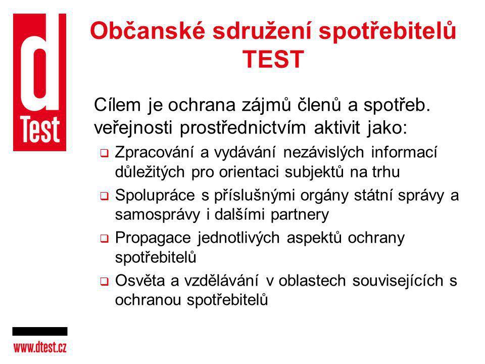 Občanské sdružení spotřebitelů TEST Cílem je ochrana zájmů členů a spotřeb. veřejnosti prostřednictvím aktivit jako:  Zpracování a vydávání nezávislý