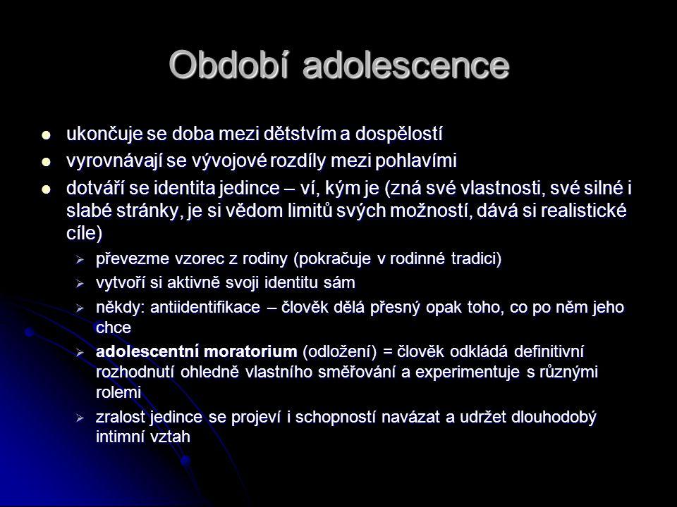 Období adolescence  ukončuje se doba mezi dětstvím a dospělostí  vyrovnávají se vývojové rozdíly mezi pohlavími  dotváří se identita jedince – ví,