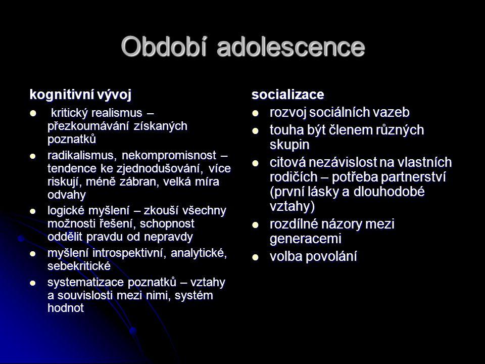 Období adolescence kognitivní vývoj  kritický realismus – přezkoumávání získaných poznatků  radikalismus, nekompromisnost – tendence ke zjednodušová
