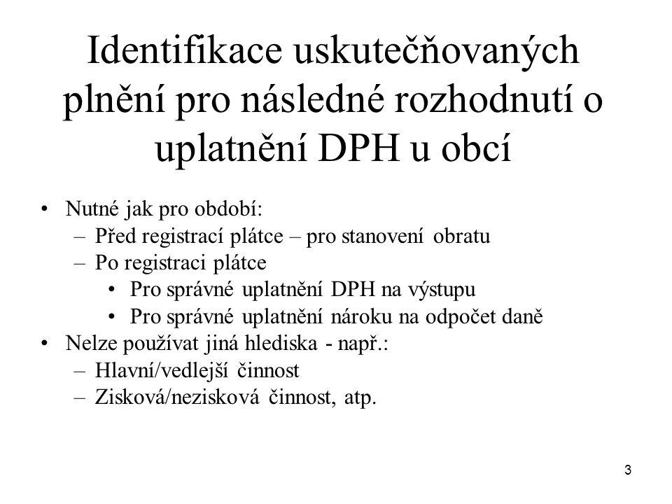 3 Identifikace uskutečňovaných plnění pro následné rozhodnutí o uplatnění DPH u obcí •Nutné jak pro období: –Před registrací plátce – pro stanovení ob