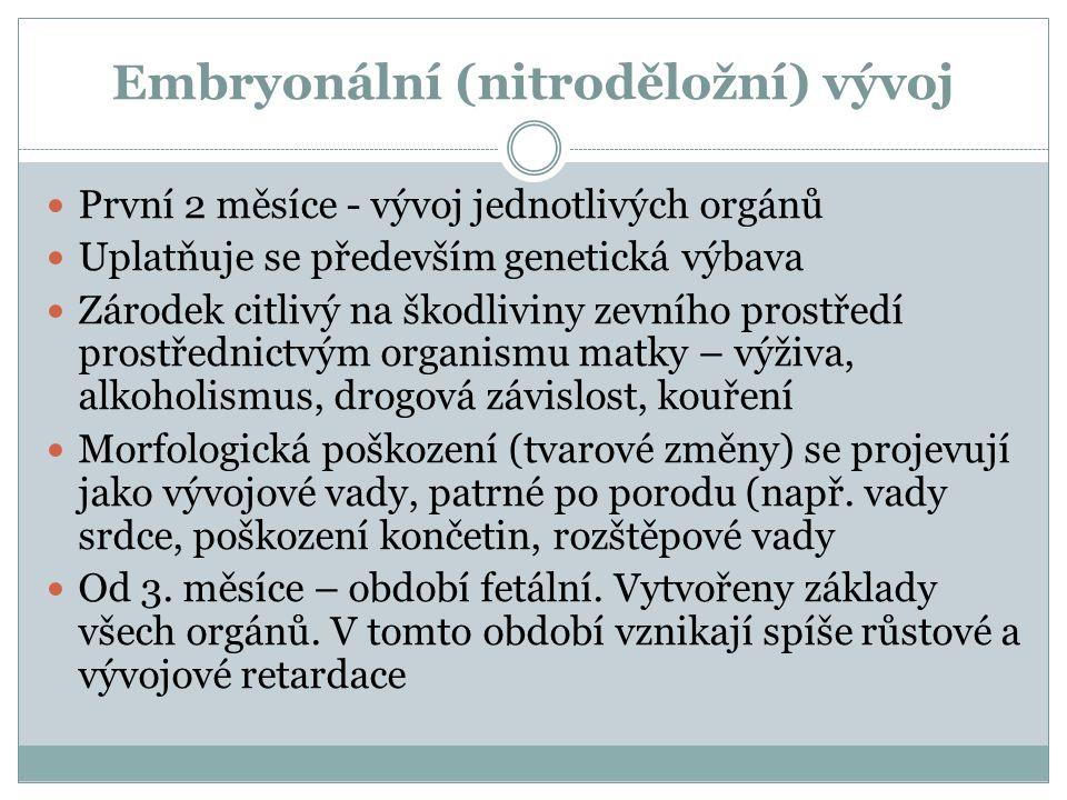 Embryonální (nitroděložní) vývoj  První 2 měsíce - vývoj jednotlivých orgánů  Uplatňuje se především genetická výbava  Zárodek citlivý na škodlivin