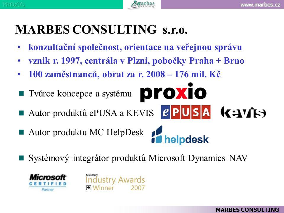 www.marbes.cz MARBES CONSULTING •konzultační společnost, orientace na veřejnou správu •vznik r. 1997, centrála v Plzni, pobočky Praha + Brno •100 zamě