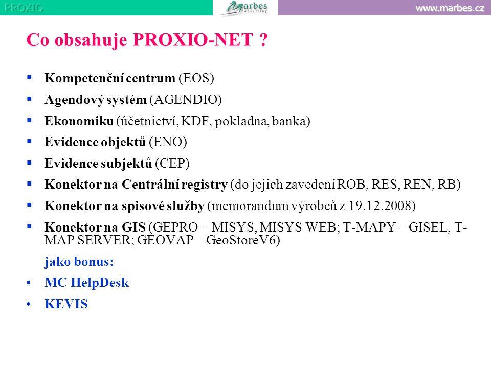 www.marbes.cz Co obsahuje PROXIO-NET ?  Kompetenční centrum (EOS)  Agendový systém (AGENDIO)  Ekonomiku (účetnictví, KDF, pokladna, banka)  Eviden