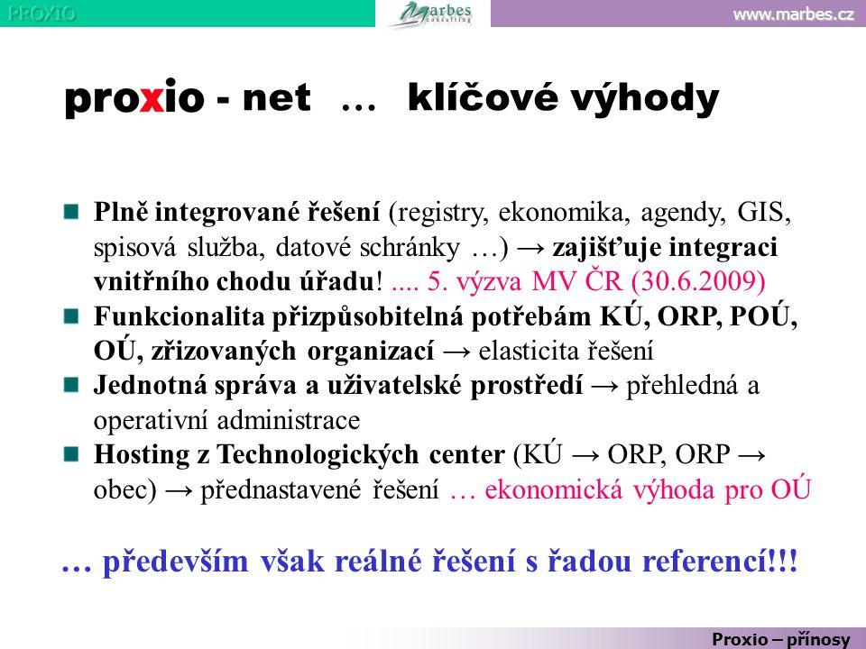 www.marbes.cz Plně integrované řešení (registry, ekonomika, agendy, GIS, spisová služba, datové schránky …) → zajišťuje integraci vnitřního chodu úřad