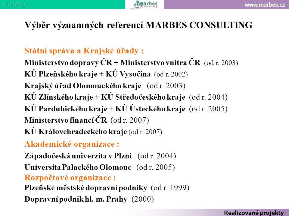 www.marbes.cz Výběr významných referencí MARBES CONSULTING Státní správa a Krajské úřady : Ministerstvo dopravy ČR + Ministerstvo vnitra ČR (od r. 200
