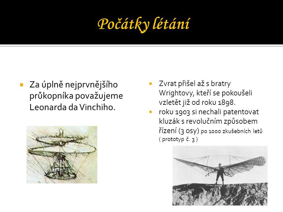  Za úplně nejprvnějšího průkopníka považujeme Leonarda da Vinchiho.  Zvrat přišel až s bratry Wrightovy, kteří se pokoušeli vzletět již od roku 1898