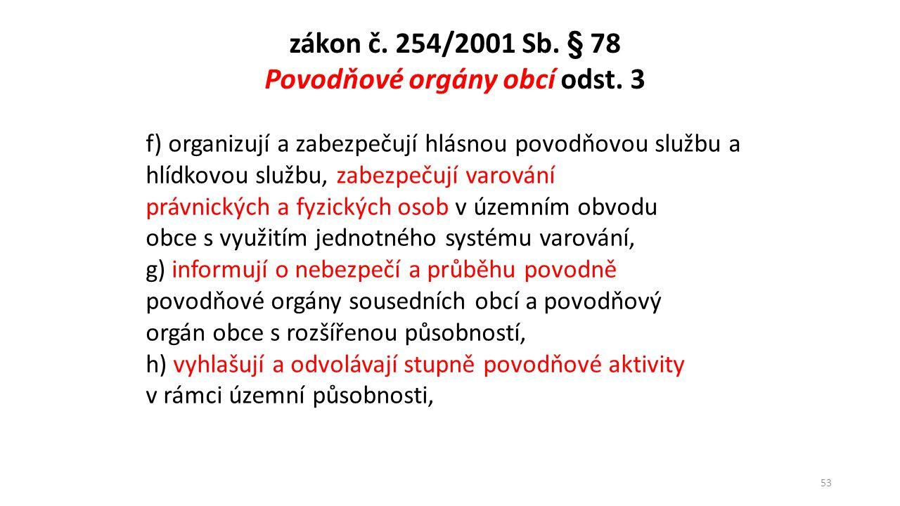 54 Varování vlastníků nemovitostí Vodní zákon, č.254/2001 Sb.