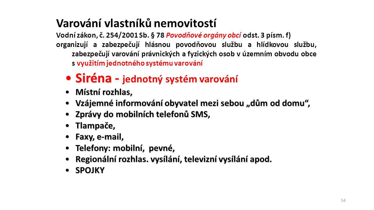 55 Předpovědní povodňové služba Činnost povodňového orgánu obce s rozšířenou působností Povodňová komise obce s rozšířenou působností informace musí být vždy včas předána, zkontrolováno převzetí a pochopení informace Předpověď ČHMÚ, správce toku, PKkraje, cestou HZS ČR Upozornění ČHMÚ správce toku, PKkraje, cestou HZS ČR Výstraha ČHMÚ správce toku, PKkraje, cestou HZS ČR e-mail, SMS, fax, telefonicky, spojka, sdělovací prostředky Obec Potvrzení převzetí zprávy Obec Fyzické osobyPrávnické osobyFyzické osobyPrávnické osobyFyzické osobyPrávnické osoby Fyzická osoba v zaměstnání, na dovolené, apod.