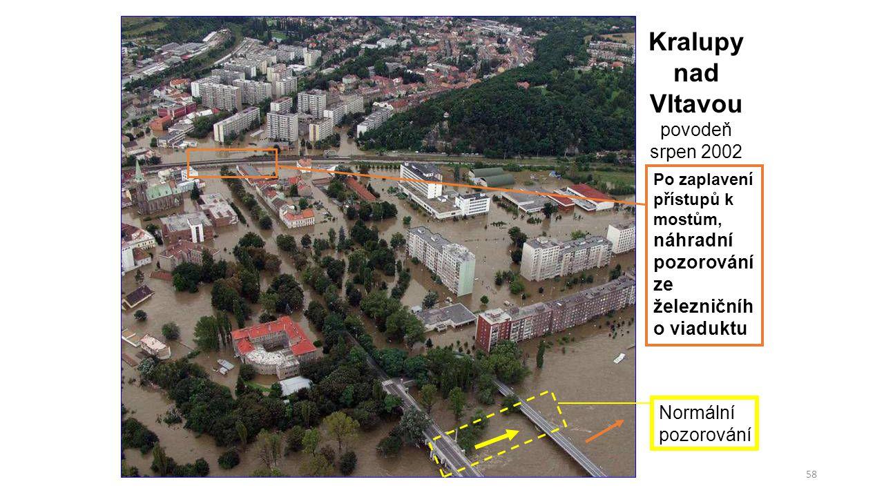 """59 Návrh: :Pomocný hlásný profil kategorie """"C č.10 Kralupy nad Vltavou """"lávka pro pěší foto č.1 pozorování ze silničního mostu, po zatopení přístupových cest k silničnímu mostu se bude odečítat v prostoru """"železničního viaduktu"""